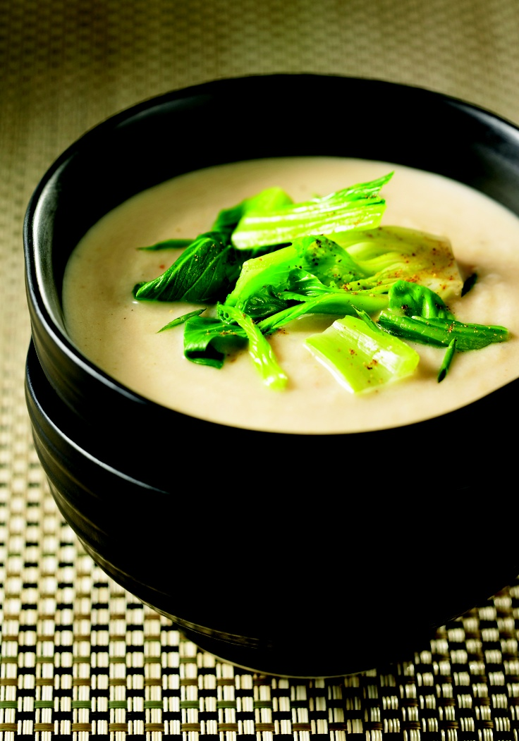 Cream of Roasted Turnip Soup with Baby Bok Choy and Five Spices