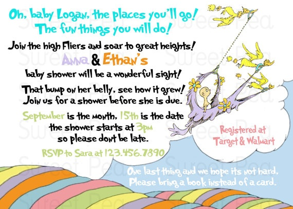 oh baby the places you 39 ll go dr suess baby shower invitation or tha