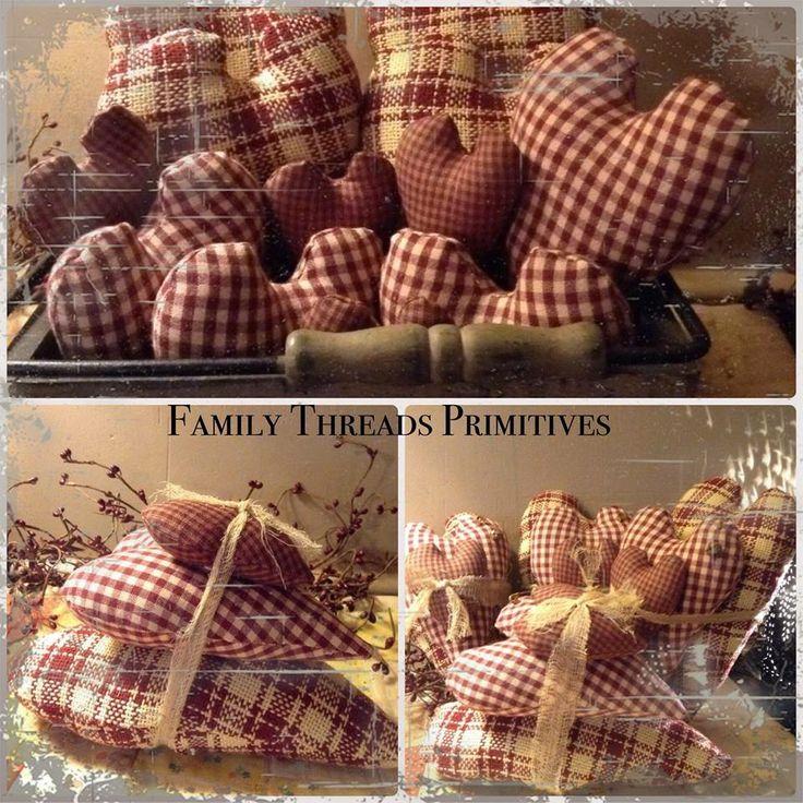 Burgundy Hearts   My Primitive Crafts   Pinterest