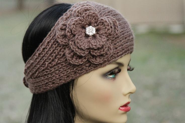 Ear Warmer - Headband - Head Wrap - Hand Knit - Taupe - Crochet Flowe?