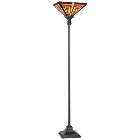 quoizel stephen tiffany style torchiere floor lamp v9436 lampsplus. Black Bedroom Furniture Sets. Home Design Ideas