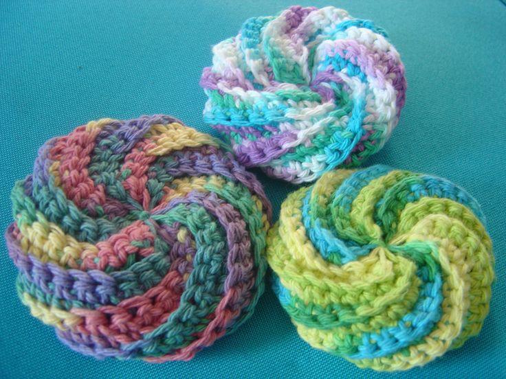 Crochet Patterns Only Spiral Scrubbie : crocheted scrubby easy crochet patterns Pinterest