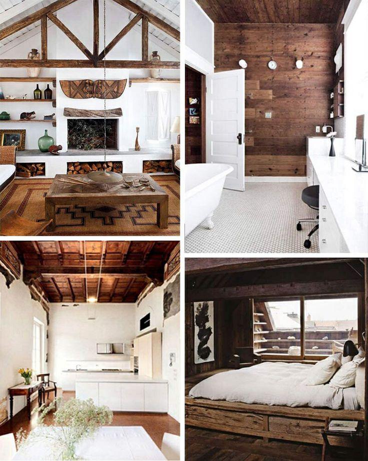 Log cabin modern interior little home loving pinterest
