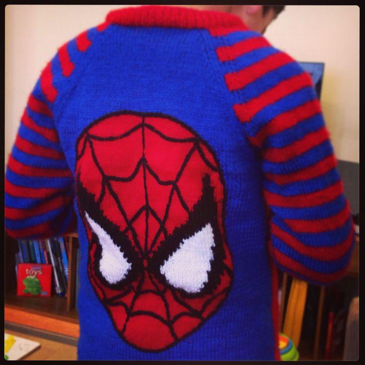 Spider-Man hand knit jumper Hand made with love Pinterest