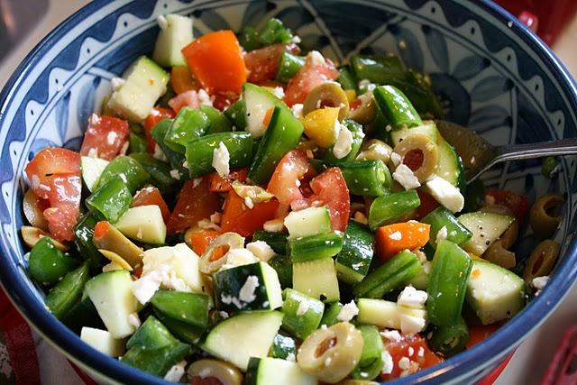Chopped Greek Salad - chopped romaine, tomato, cucumber, olives, onion ...