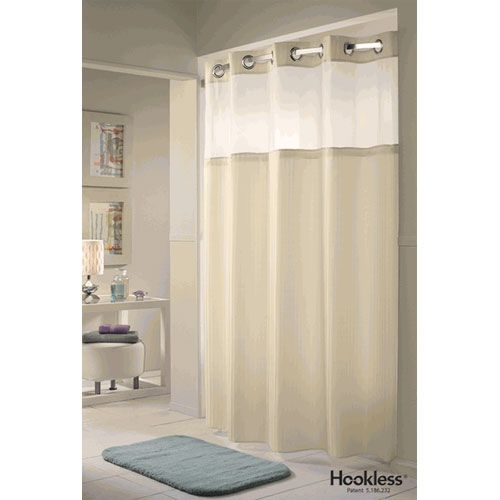 White Double Hookless Fabric Shower Curtain With Snap In Liner And Sh