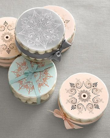 Dress up round candy containers with fanciful medallions printed on stickers or paper stock