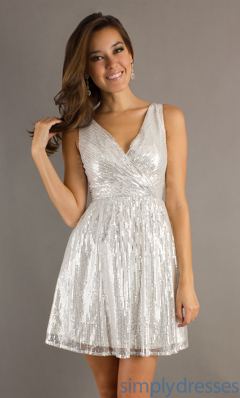 Short silver v neck dress mt md 5966 fashion pinterest for White after wedding party dress
