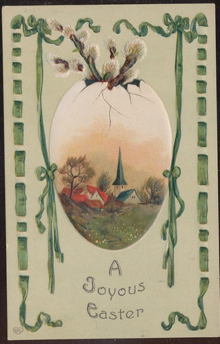 ART NOUVEAU EASTER GREETINGS LOVELY CHURCH SCENE EGG PUSSY WILLOW FLOWERS-ccc281