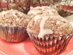 pumpkin spice muffins with vanilla cream cheese glaze
