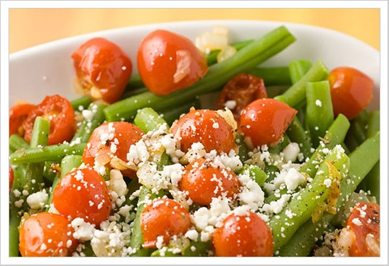 Andrea's Warm Green Bean Salad. (Can sub feta for goat cheese ...