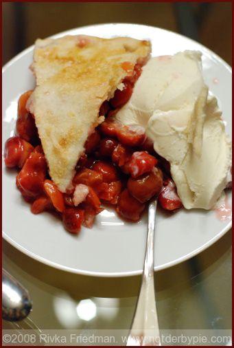 Sour Cherry Pie. Glad I found a cherry tree in my yard! :)