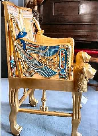 Side of throne chair - lapiz lazuli inlaid into golden falcon wings.