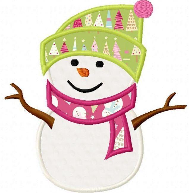 Snowman applique design machine embroidery and