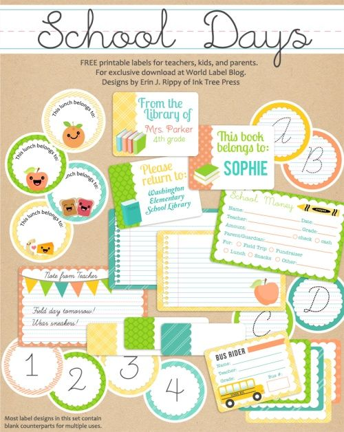 SCHOOL DAYS PRINTABLES: This really cute set of free labels for School Kids and Teachers is designed by Erin Rippy of  InkTreePress.com Printables are in PDF templates, they are both fillable and editable. Yes, they are ready for your to insert your own text and personalize. From Worldlabel.com Bookmarks, bookplates and more...See set two here: http://blog.worldlabel.com/2012/school-days-printables-notes-part-2.html