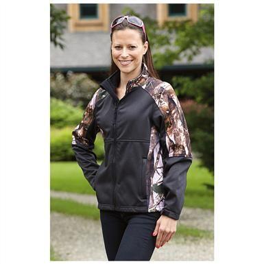 Women's Guide Gear Camo Trim Soft Shell Jacket, Black / Pink Camon