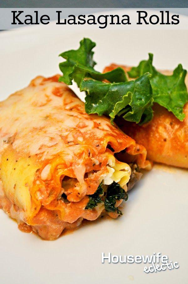 Mushroom Kale Lasagna Rolls Recipe — Dishmaps