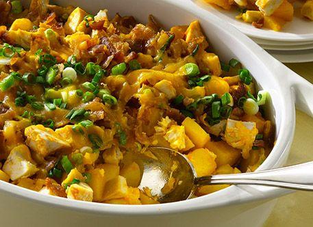 Loaded Potato & Buffalo Chicken Casserole - I used par-boiled potatoes ...