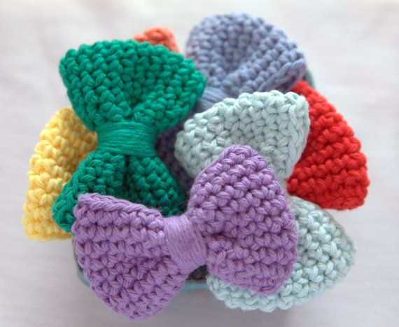 Crochet Hair Bows : Crochet Hair Bow Rainbow Colors by LOVENOTECRAFTS on Etsy, $5.00