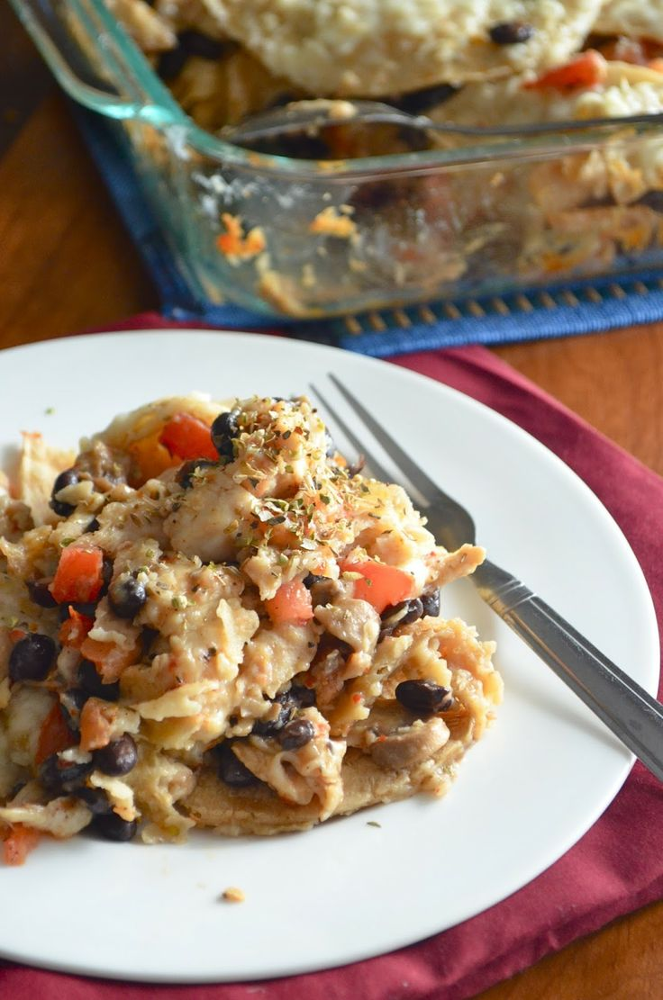 Dishing With Divya: Chicken Mushroom and Black Bean Tortilla Casserole ...