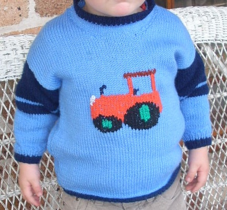 Knitting Pattern Tractor Jumper : knitted tractor jumper for Jimmy Knitting Pinterest