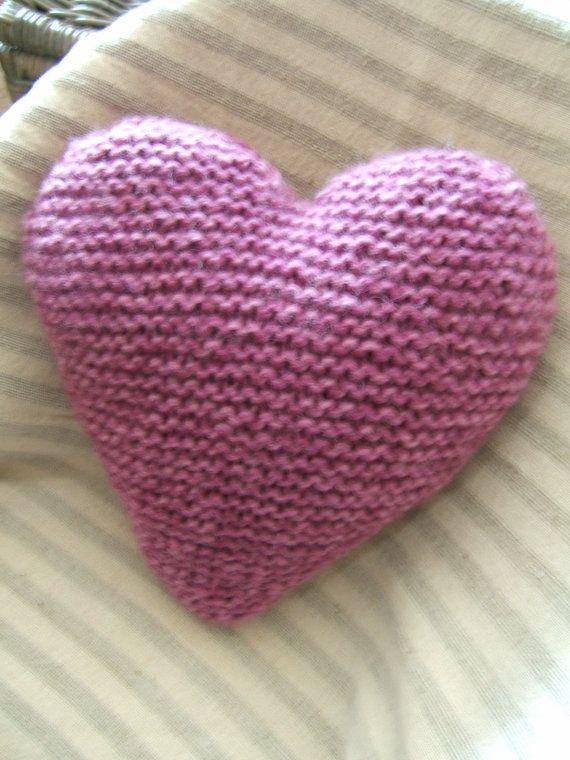 Knitted Heart Cushion / Pillow Medium