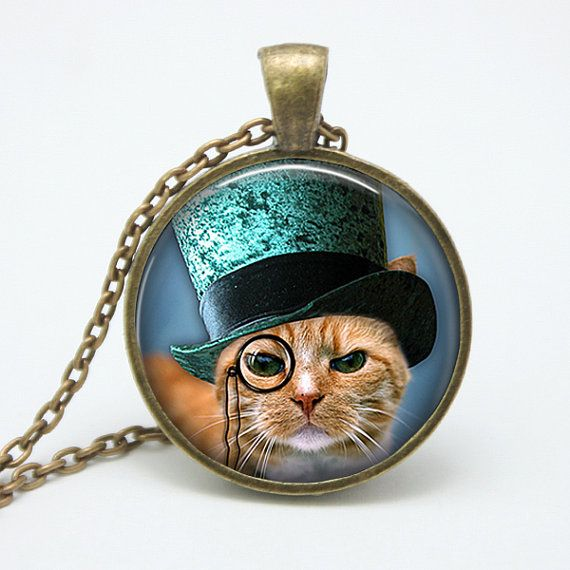 Cat in monocle eye glasses and blue top hat steampunk for Cat in the hat jewelry