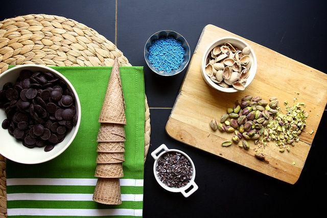 Dark Chocolate Dipped Sugar Cones | Let Them Eat Cake | Pinterest