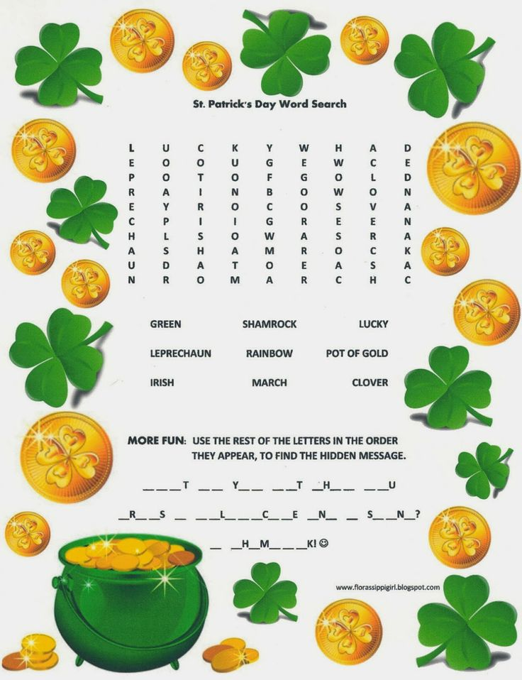 Florassippi Girl • St. Patrick's Day Word Search - Free Printable