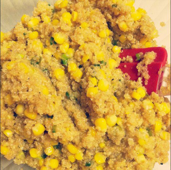 Quinoa with corn & Scallions! Healthy and deeelicous!
