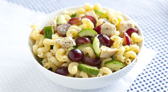 ... salad. Just chicken, pasta, grapes, cucumbers, and poppy-seed dressing