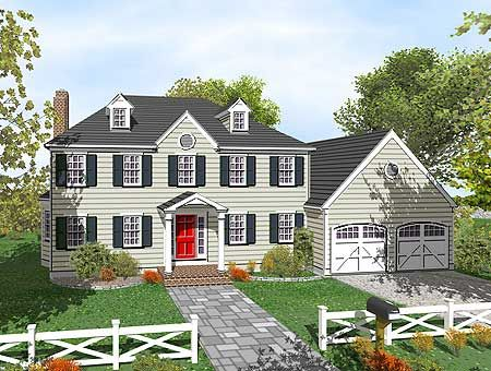 Two story colonial with open floor plan for 2 story colonial house plans
