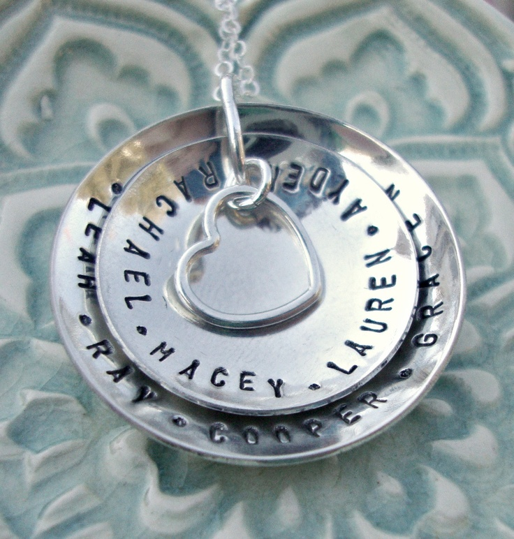 Hand Stamped Mommy Necklace Customized Necklace Handstamped Jewelry Mother's Necklace. $71.00, via Etsy.