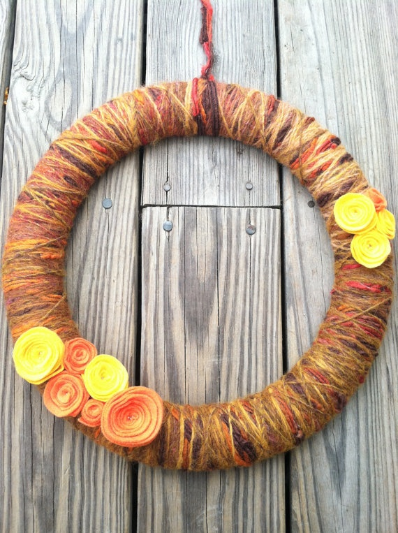 Fall wreath with felt flowers by OpheliaWillowDesigns on Etsy, $30.00