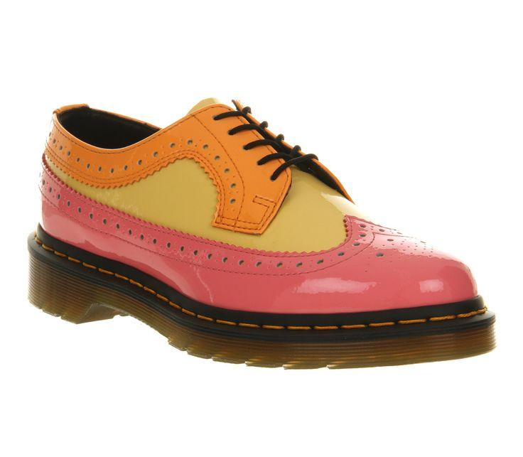 Womens Dr Martens 3989 Wing Tip Shoe Acid Pink Yellow Orange Flats