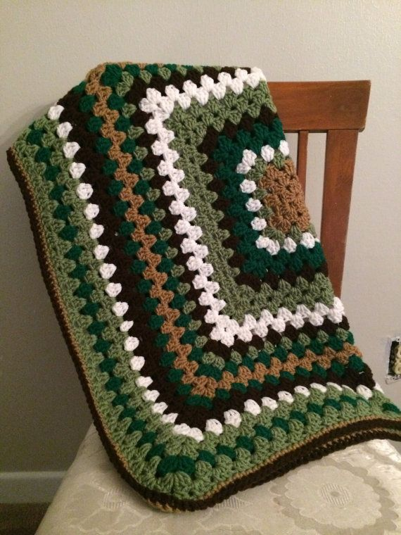 Crocheted Camo Insipired Granny Square Baby Blanket