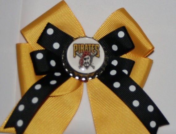 Pittsburgh Pirates Pirates Bow Pirates Hair Bow Black by bowsforme, $7.00