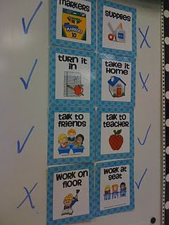 """Pinner says: """"This is one of my FAVORITE classroom management tools!! It can be soooo time consuming to answer the questions...Can we use markers?, Do we turn this in?, Is this a talking activity? I love using these assignment choice signs to answer those questions without me doing the work.  Once I give directions for an activity, I quickly place checks and X's by the cards and my students know exactly where to look for the answer."""""""