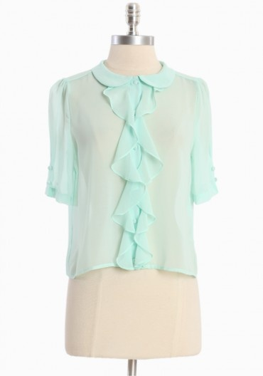 Mint Green Ruffle Blouse 78