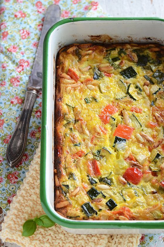 Roasted Vegetable Crustless Quiche with Basil & Pine Nuts is a simple ...