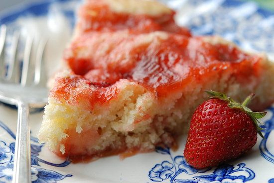 Strawberry-rhubarb buttermilk pudding cake...divine