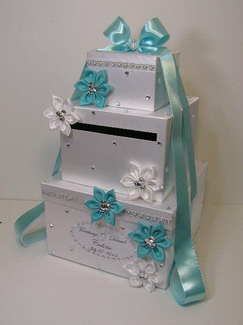 Tiffany Blue and White Wedding Card Box Gift Card Box Money Box Holder ...