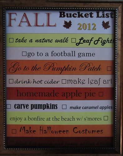love this fall bucket list ... my favorite time of the year