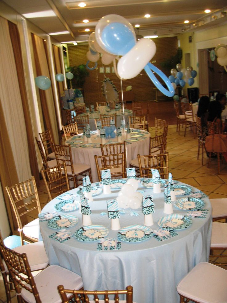 Vintage baby shower table decor photograph baby shower tab for Baby shower ceiling decoration ideas