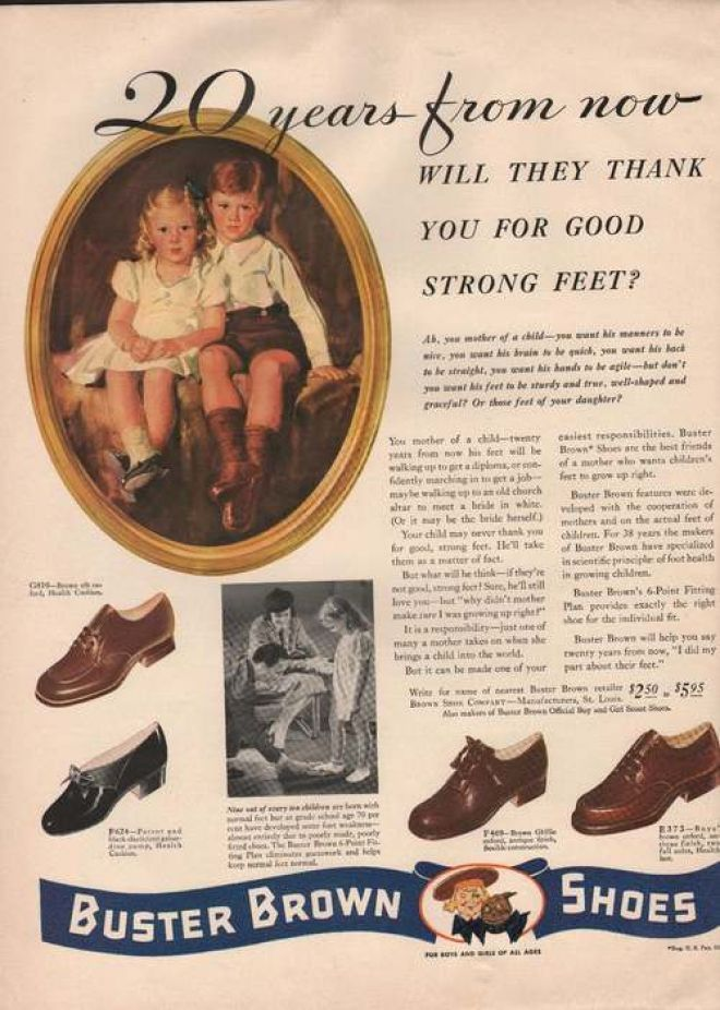 children's shoe advertisement. Look at the prices of shoes back then