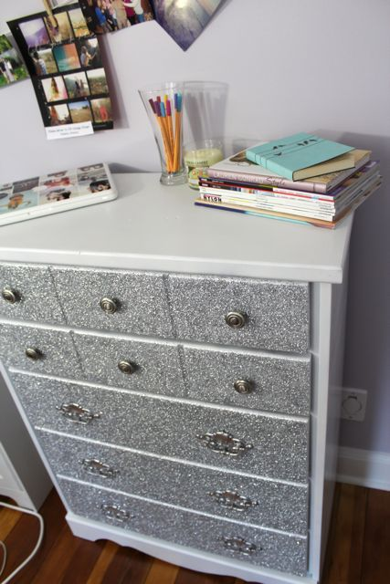 DIY Glitter Dresser.would be fun for dorm with a tiffany blue theme we'll have one soon! www.decor-2-ur-door.com we did a white glitter desk for our office!:)
