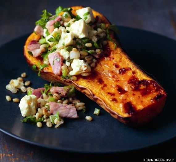 Roast butternut squash with Caerphilly, barley and bacon stuffing ...