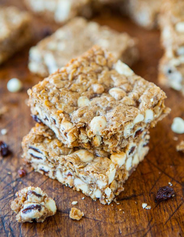 Browned Butter Oatmeal Raisinet White Chocolate Bars - Fast, easy ...