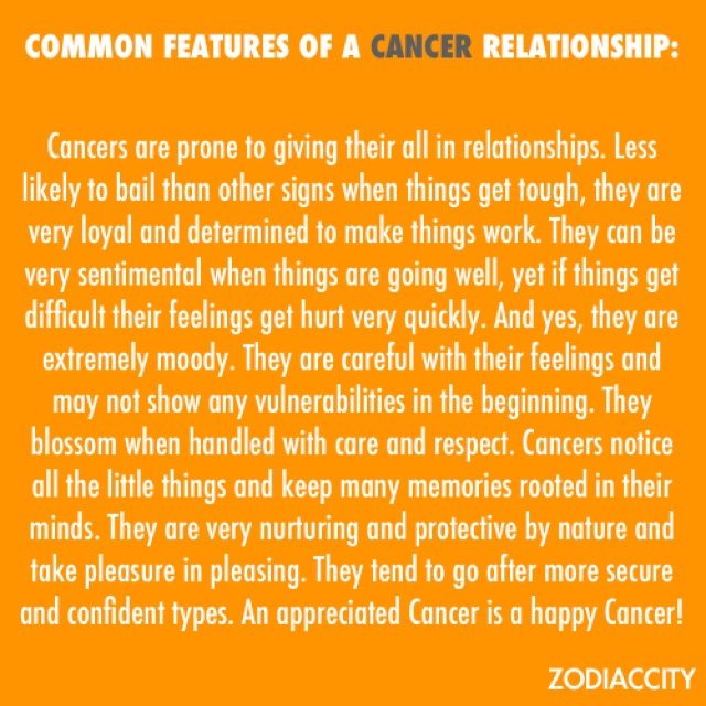 Things about dating a cancer