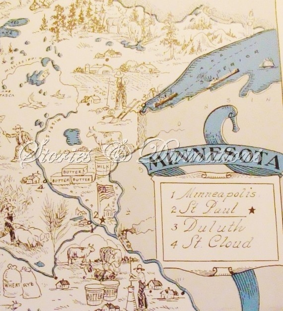 Minnesota Map - Vintage Map Of Minnesota - A Fun And Funky Little Picu2026